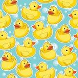 Bezszwowy wzór z żółtymi kaczkami Zdjęcia Stock