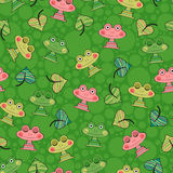 Bezszwowy wzór z żabami Zdjęcia Royalty Free