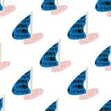 Bezszwowy wzór z żaglówkami Morskiego lata nowożytny tło również zwrócić corel ilustracji wektora Obraz Stock