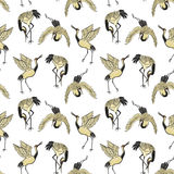 Bezszwowy wzór z żurawiami ilustracji