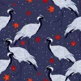 Bezszwowy wzór z żurawiami i liśćmi klonowymi ilustracja wektor