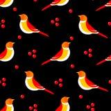 Bezszwowy wzór z abstrakcjonistycznym ptakiem i jagodami na czarnym tle również zwrócić corel ilustracji wektora Fotografia Royalty Free