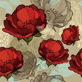 Bezszwowy wzór z abstrakcjonistycznymi czerwonymi kwiatami również zwrócić corel ilustracji wektora Fotografia Stock