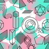 Bezszwowy wzór z abstrakcjonistycznymi geometrycznymi kształtami Kreskowej sztuki tło Zdjęcia Stock