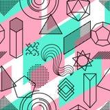Bezszwowy wzór z abstrakcjonistycznymi geometrycznymi kształtami Kreskowej sztuki tło Zdjęcie Stock