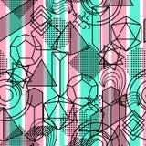 Bezszwowy wzór z abstrakcjonistycznymi geometrycznymi kształtami Kreskowej sztuki tło Obrazy Stock