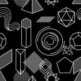 Bezszwowy wzór z abstrakcjonistycznymi geometrycznymi kształtami Kreskowej sztuki tło Obraz Stock