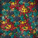 Bezszwowy wzór z abstrakcjonistycznymi kwiatami w rocznika stylu ilustracja wektor
