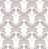 Bezszwowy wzór z abstrakcjonistycznymi kwiecistymi motylami Zdjęcia Royalty Free