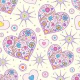 Bezszwowy wzór z abstrakcjonistycznymi sercami Obraz Royalty Free