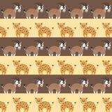 Bezszwowy wzór z afrykańskimi zwierzętami Obrazy Royalty Free