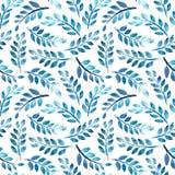 Bezszwowy wzór z akwarelą rozgałęzia się na bielu Obrazy Stock