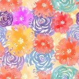 Bezszwowy wzór z akwarela kolorowymi kwiatami royalty ilustracja