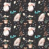 Bezszwowy wzór z akwarela królikami, kwiecistymi elementami i kwiatami w, garnki Zdjęcia Stock
