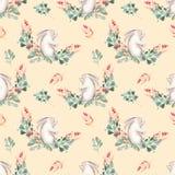 Bezszwowy wzór z akwarela królikami, zieleni gałąź i czerwonymi jagodami, Zdjęcie Royalty Free