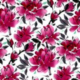 Bezszwowy wzór z akwarela kwiatami Obraz Royalty Free