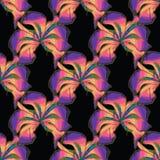 Bezszwowy wzór z akwarela kwiatami irys Orhid ręka patroszona Obrazy Royalty Free