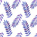 Bezszwowy wzór z akwarela liśćmi i gałąź Obrazy Royalty Free