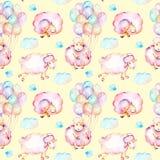 Bezszwowy wzór z akwareli ślicznymi różowymi sheeps, lotniczymi balonami i chmur ilustracjami, Obrazy Stock