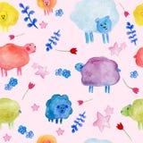 Bezszwowy wzór z akwareli ślicznymi sheeps, kwiatów i gwiazd ilustracjami, ilustracja wektor