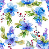 Bezszwowy wzór z akwareli błękitem i liśćmi kwitnie Fotografia Stock