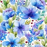 Bezszwowy wzór z akwareli błękitem i liśćmi kwitnie Obrazy Stock