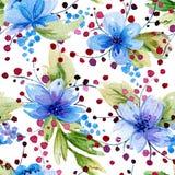 Bezszwowy wzór z akwareli błękitem i liśćmi kwitnie Zdjęcie Stock