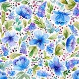 Bezszwowy wzór z akwareli błękitem i liśćmi kwitnie Obrazy Royalty Free