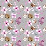 Bezszwowy wzór z akwareli bawełny kwiatami, różowymi pudełkami, kwiecistych i lotosu ilustracji