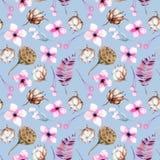 Bezszwowy wzór z akwareli bawełny kwiatami, różowymi pudełkami, kwiecistych i lotosu ilustracja wektor