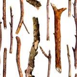 Bezszwowy wzór z akwareli drewnianymi gałązkami ilustracja wektor
