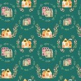 Bezszwowy wzór z akwareli kreskówki angielskimi domami wśrodku kwiecistych wianków Obraz Stock