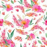 Bezszwowy wzór z akwareli menchii kwiatami Obraz Royalty Free