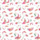 Bezszwowy wzór z akwareli menchii kwiatami Zdjęcia Stock