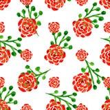 Bezszwowy wzór z akwareli różami Wektorowa ilustracja z czerwonymi kwiatami szczegółowy rysunek kwiecisty pochodzenie wektora Zdjęcie Stock