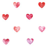 Bezszwowy wzór z akwareli sercami ilustracji