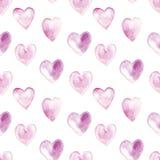 Bezszwowy wzór z akwareli sercami Zdjęcie Stock