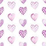 Bezszwowy wzór z akwareli sercami Zdjęcie Royalty Free