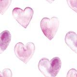 Bezszwowy wzór z akwareli sercami Obrazy Royalty Free