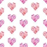 Bezszwowy wzór z akwareli sercami Obrazy Stock