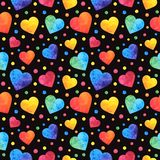 Bezszwowy wzór z akwareli sercami, valentines dnia tło, tekstura, zawija eps10 kwiatów pomarańcze wzoru stebnowania rac ric zaszy ilustracji