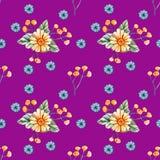 Bezszwowy wzór z akwareli wildflowers na purpurowym tle royalty ilustracja