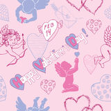 Bezszwowy wzór z amorkami i miłość symbolami Obrazy Stock