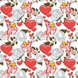 Bezszwowy wzór z amorkiem, sercami i różami, dodać dni walentynki tła formatu wektora Obrazy Stock