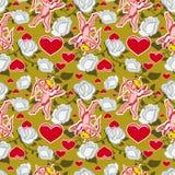 Bezszwowy wzór z amorkiem, sercami i różami, dodać dni walentynki tła formatu wektora Fotografia Royalty Free