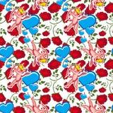 Bezszwowy wzór z amorkiem, sercami i różami, dodać dni walentynki tła formatu wektora Obraz Stock
