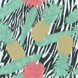 Bezszwowy wzór z ananasami na zebra druku, lotuses, wektor Zdjęcie Royalty Free