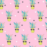 Bezszwowy wzór z ananasem w sztuka stylu Fotografia Stock