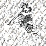 Bezszwowy wzór z anioła mienia kluczem z różami i tekstem Zdjęcia Stock