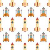 Bezszwowy wzór z astronautyczną rakietą Zdjęcia Royalty Free